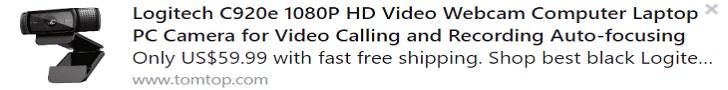 Logitech C920e 1080P HD Video Webcam Computer Laptop PC Camera for Video Calling and Recording Auto-focusing Price: $59.99