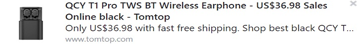 QCY T1 Pro TWS BT Wireless Earphone Coupon: HTPAQCY Price: $30.98