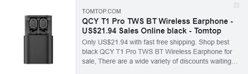 QCY T1 Pro TWS BT Wireless Earphone Price: $21.94