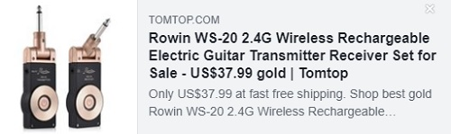 Rowin WS-20 2.4G Wireless Rechargeable Electric Guitar Transmitter Receiver Set Price: $23.99
