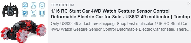 1/16 RC Stunt Car 4WD Watch Gesture Sensor Control Deformable Electric Car Price: $32.49