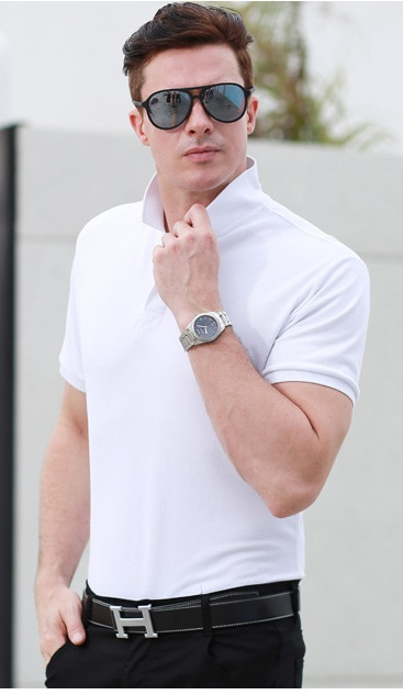 white polo shirt over black jeans