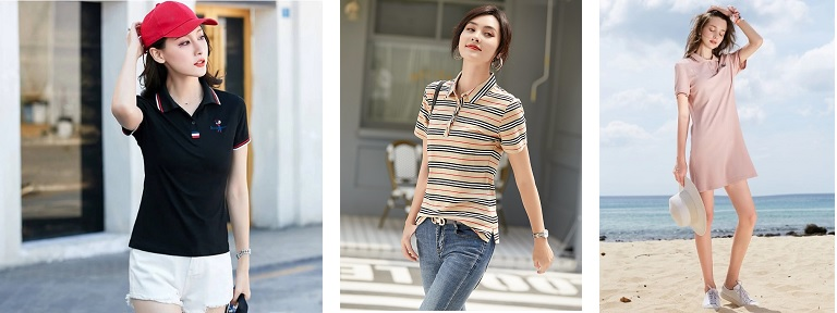 women's fashion style in their polo shirt outfit