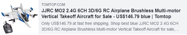 JJRC MO2 2.4G 6CH 3D/6G RC Airplane Brushless Multi-motor Vertical Takeoff Aircraft Coupon: HYJJRCTT Price: $134.99