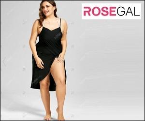 chubby lady on a decolletage black dress