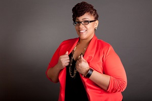 cool red and black tailored pieces suits to plus size woman