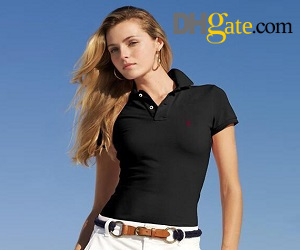 dark colored lady polo shirt paired with light-colored skirt