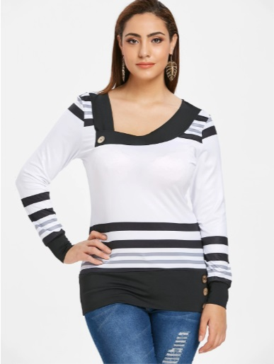 blouses with bold lines add an appeal to ladies