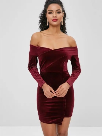dangling earrings match in an off shoulder maroon outfit is a perfect look