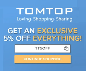 get an exclusive 5% off everything at tomtop