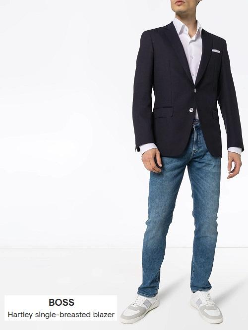 smart casual look in a classy navy blazer
