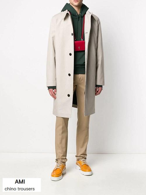 smart casual attire in classic color chinos
