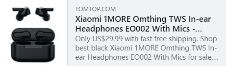 1MORE Omthing TWS In-ear Headphones EO002 With Mics Price: $25.99